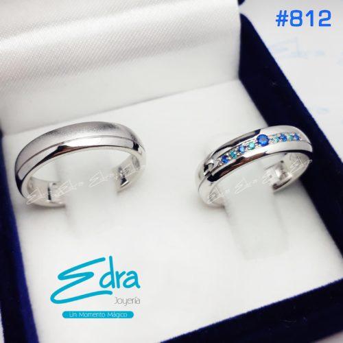 #812 plata y zircon azul, NUEVO edra