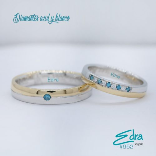 #952 diamantes azul y blanco